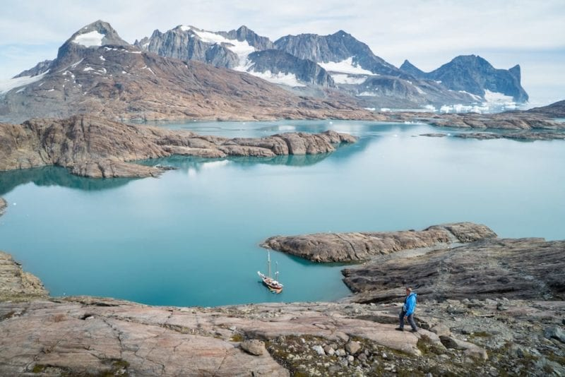 Arktika anchored at Suhaili bugt by Kramer island. Kangerlussuaq, east Greenland.
