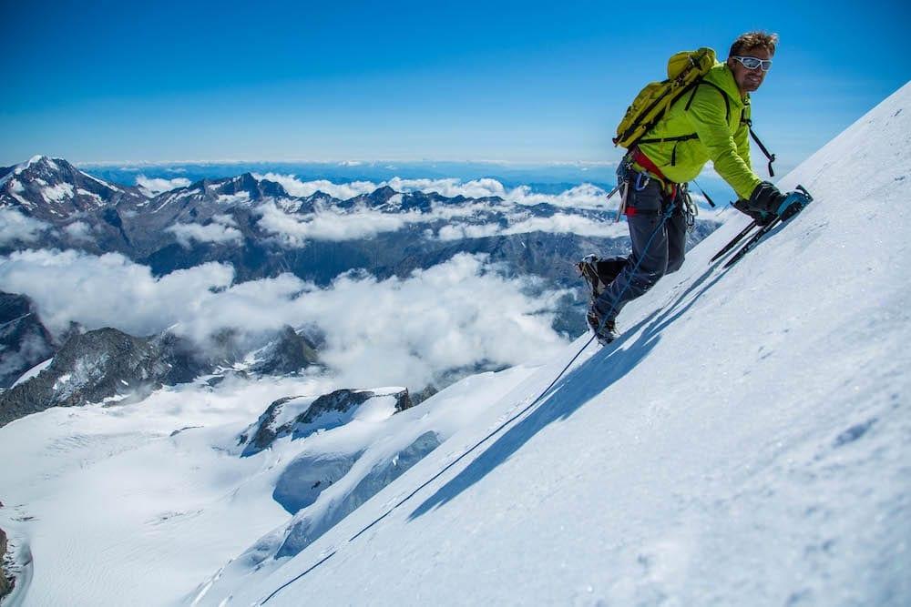 Ice Climbing the frozen northern bluff of the 4200m Allalinhorn