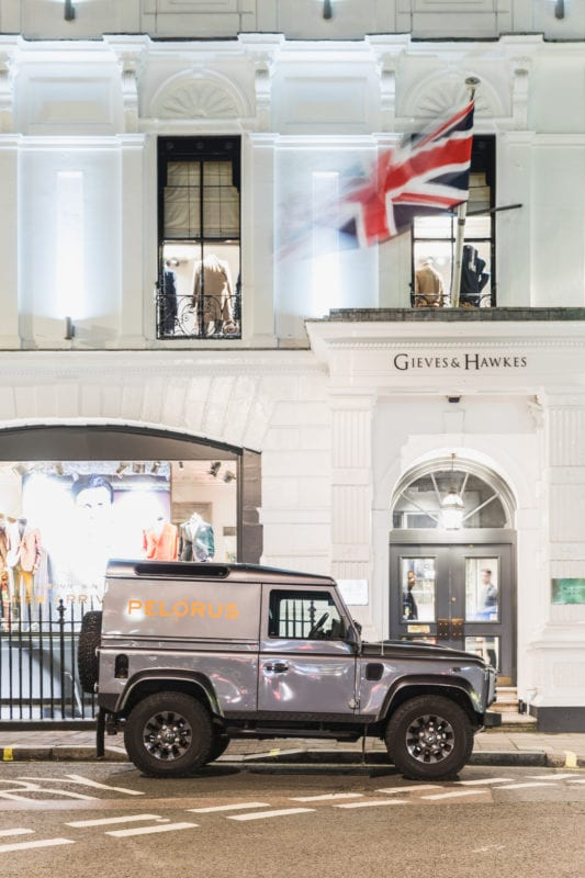 Pelorus' Landrover parked outside of the former Royal Geographical Society, Gieves & Hawkes No. 1 Savile Row