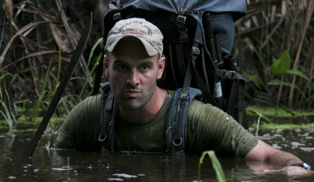 Ed Stafford submerged in water whilst walking the Amazon