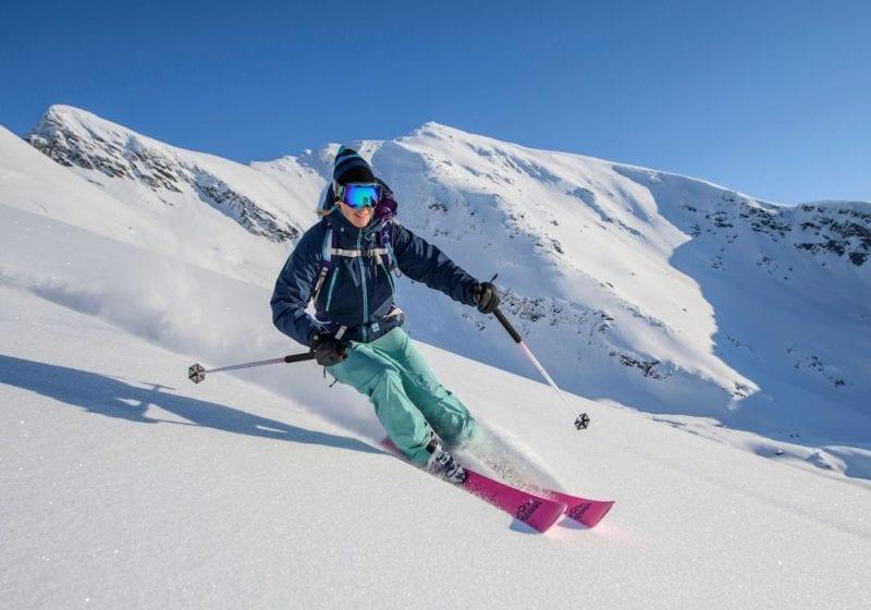 woman skiing off piste