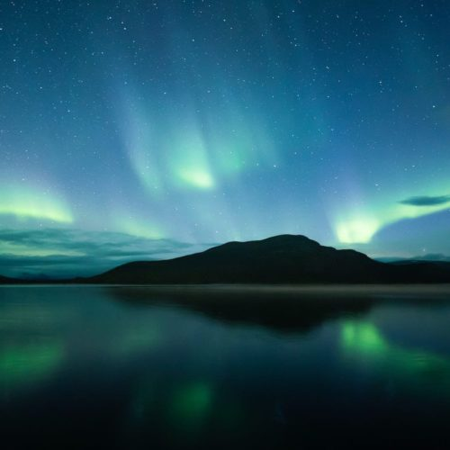 landscape shot of the northern lights
