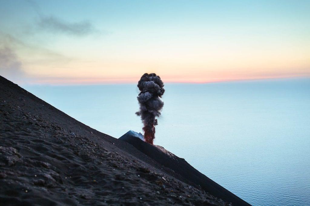 Mt Stromboli erupts at sunset