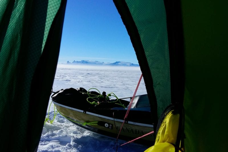 Saunder's view from his tent across the ice