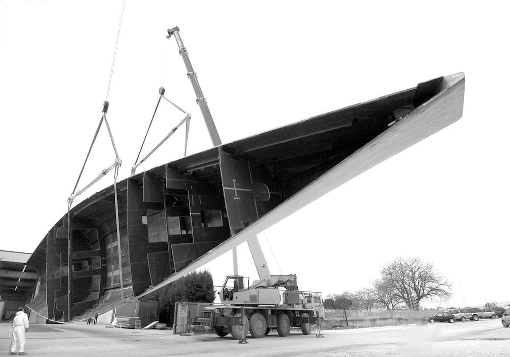 Wally Saudade 148 in the shipbuilding yard