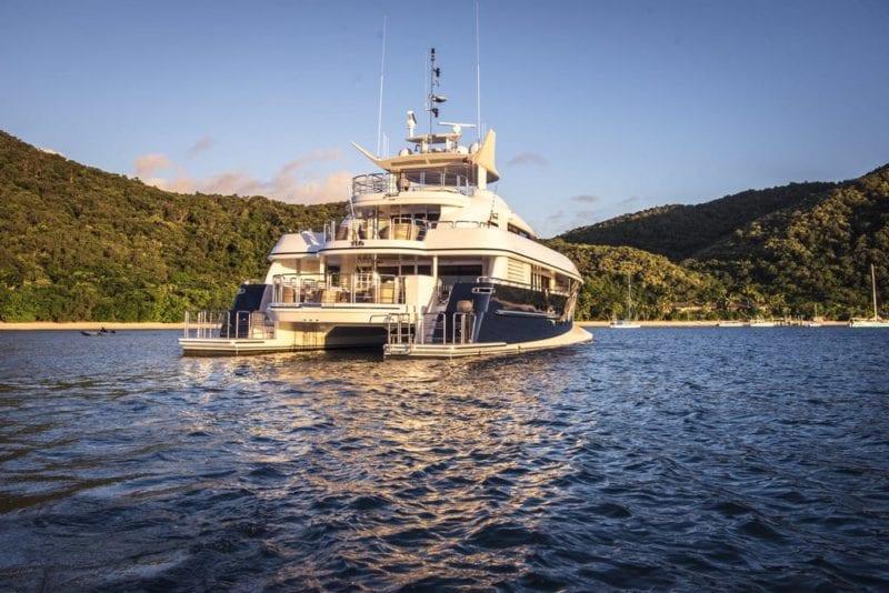 My Spirit Luxury yacht Anchored in a bay