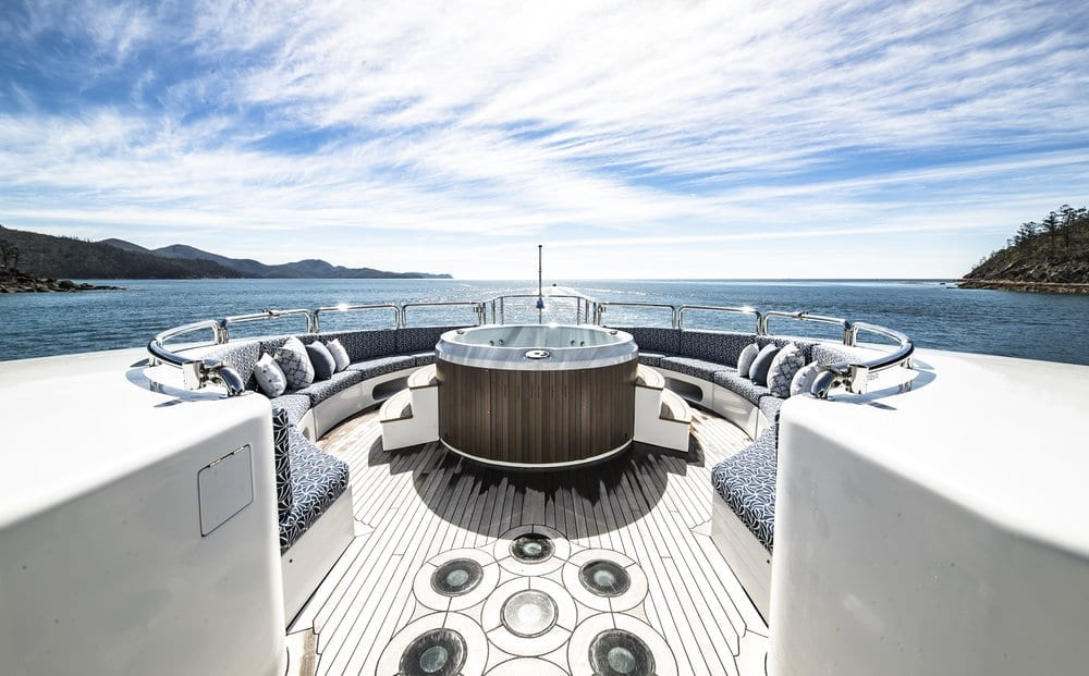 My Spirit luxury yacht exterior featuring comfy seating area