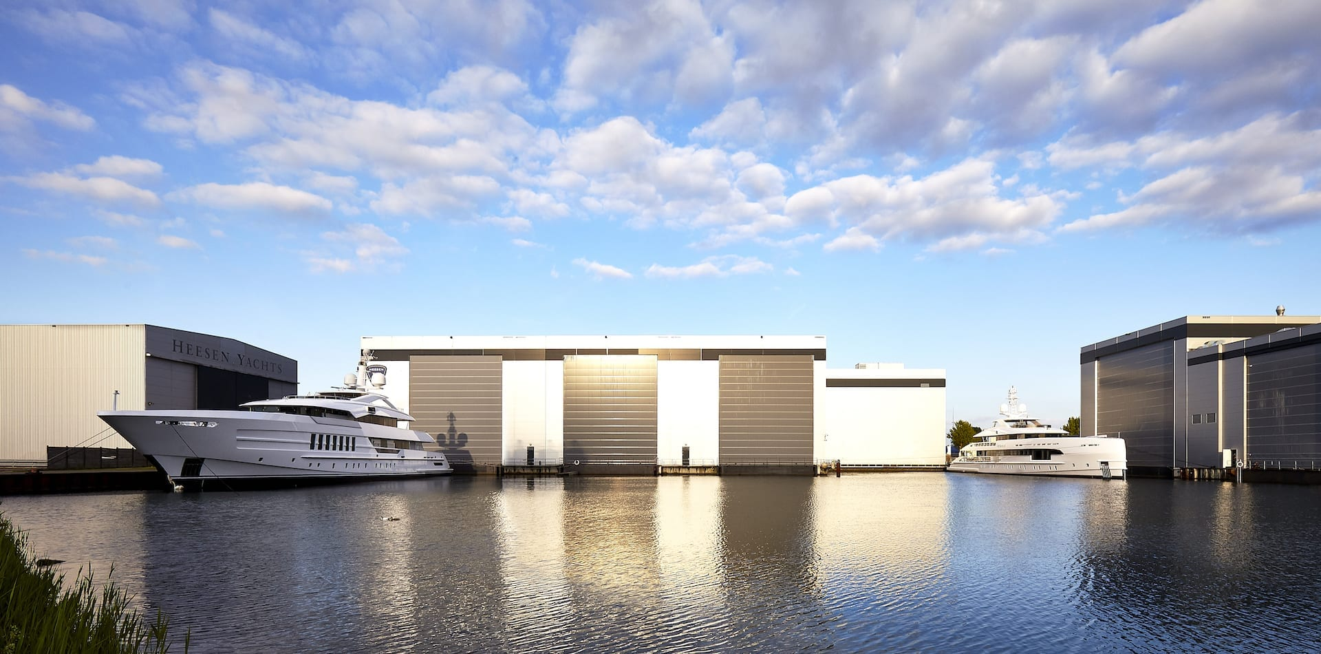 Heesen Yachts completed yacht in the water at the yard
