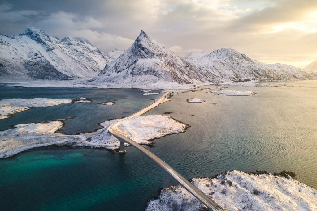 A bridge between two mountainous ice worlds