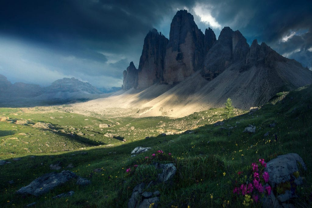 Grassi captures these dramatic peaks facing stormy weather