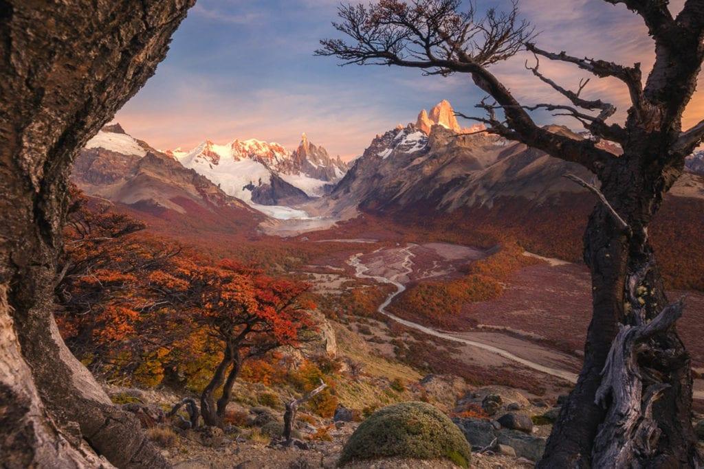 Landscape shot boasting rich hues of red and orange