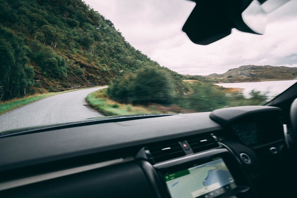take the road on the edge of lakes and forests