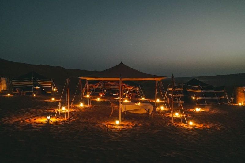 Camp beautifully lit up at night
