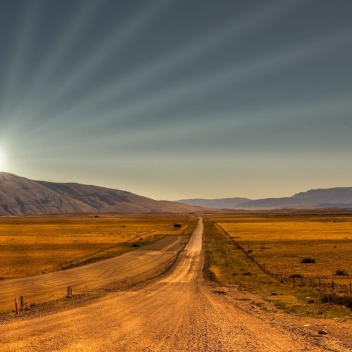 African road to the horizon