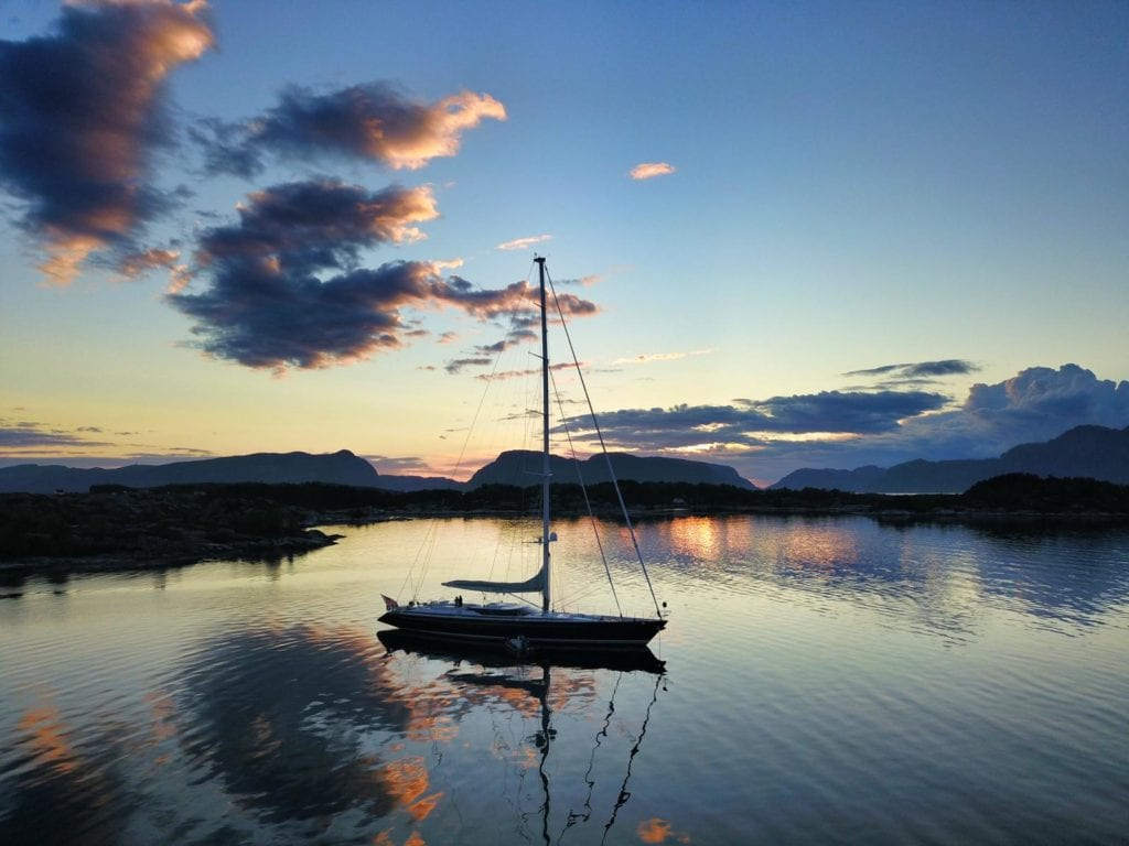 Imagine anchored in a bay at sunset