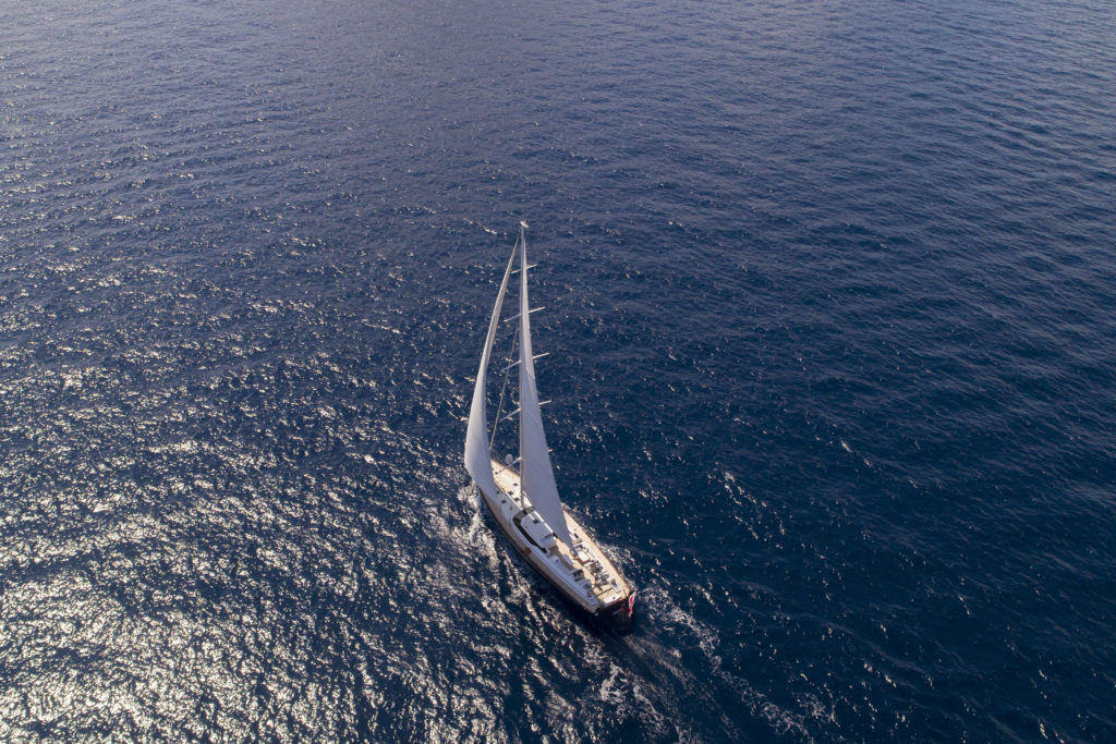 Ariel shot of the 30m sailing yacht, Imagine