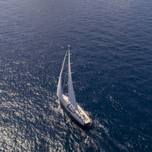 Aerial shot of the 30m sailing yacht, Imagine