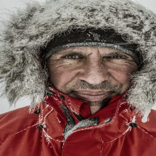 Photo by Rene Koster. Lou Rudd on his gruelling crossing of Antartica
