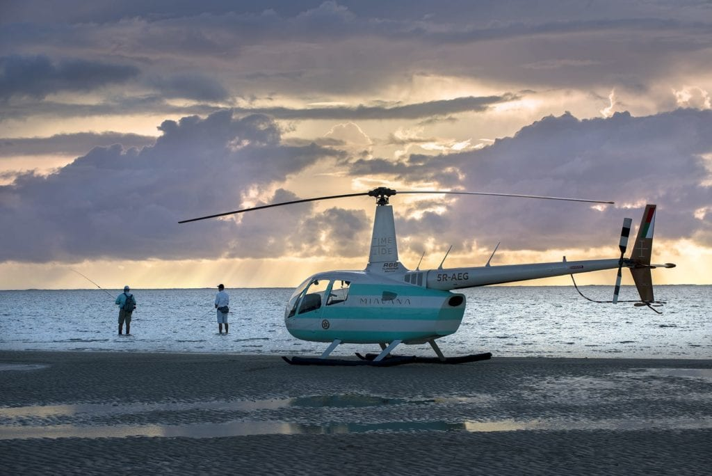 Heli to fish at sunset in Madagascar