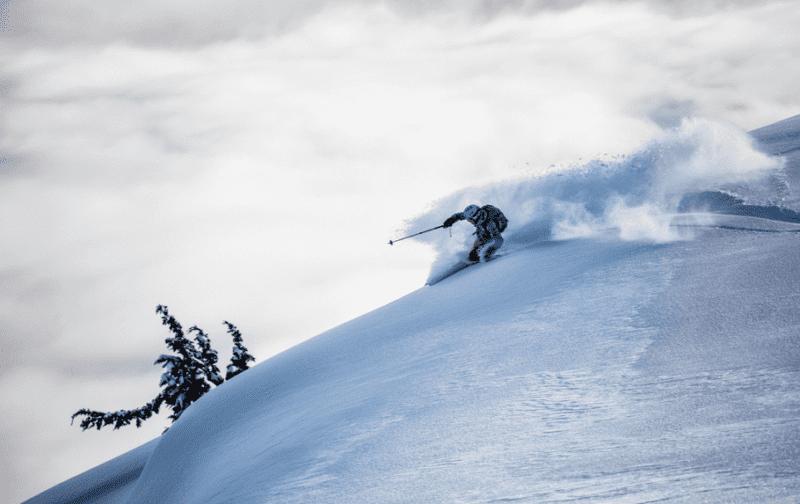 Shredding powder off-piste in British Columbia