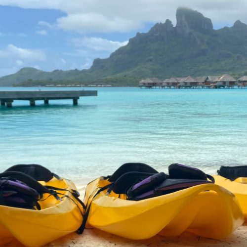 Kayaks on a Beach in Tahiti