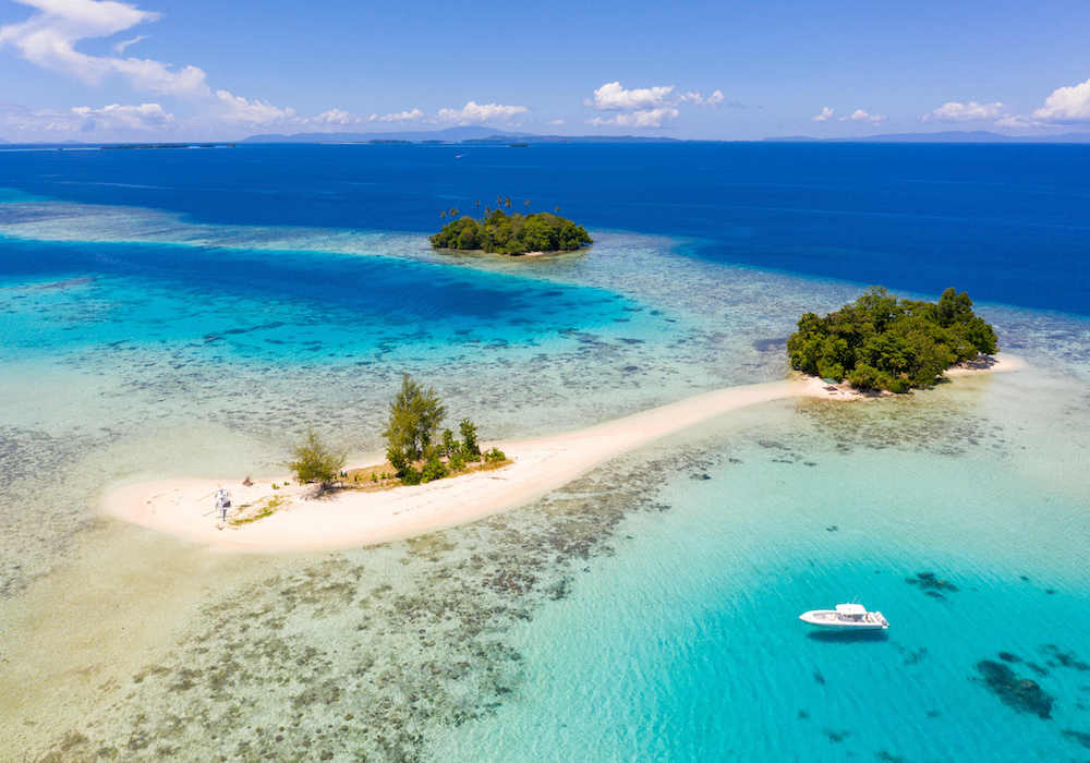 Solomon Islands tender helicopter sand bar