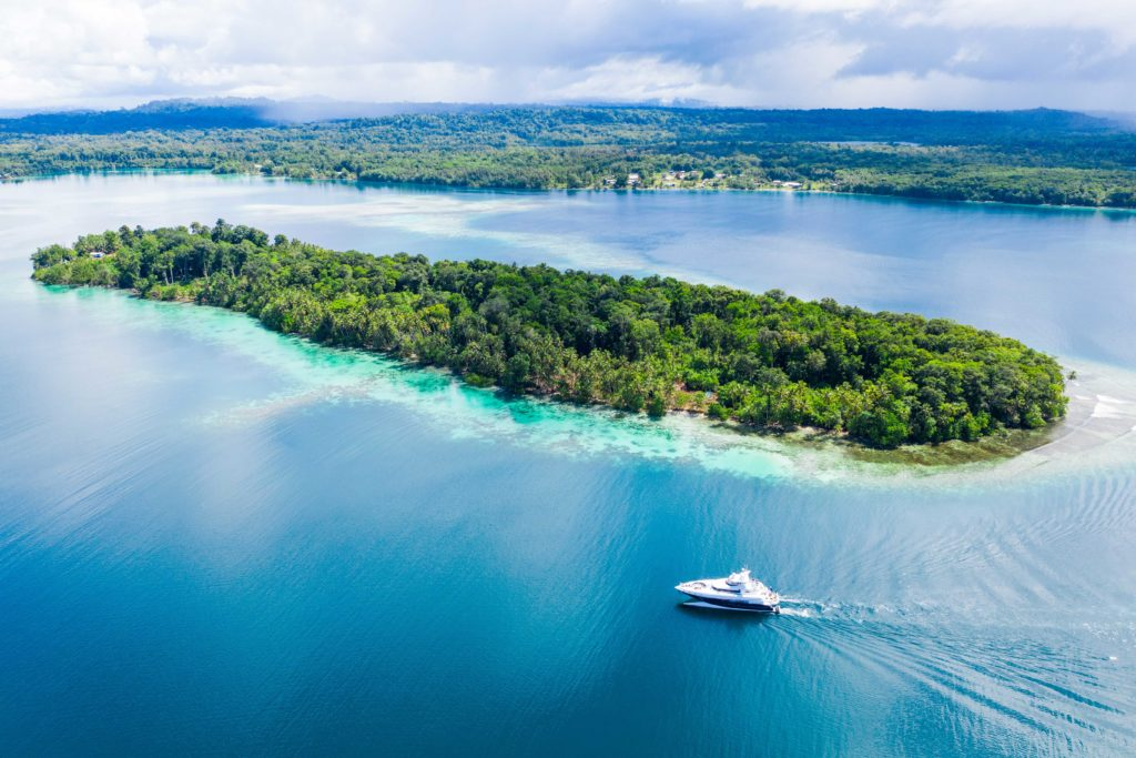 Spirit yacht amongst the tropical Solomon Islands