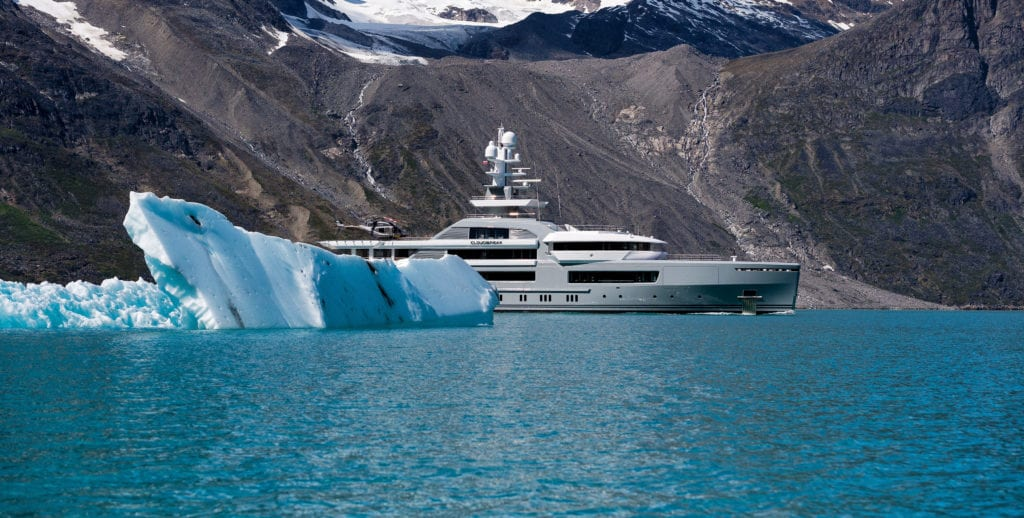 Cloudbreak yacht emerging from behind an iceburg