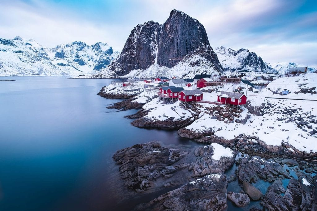 Quaint fishermen huts in Lofoten, Norway