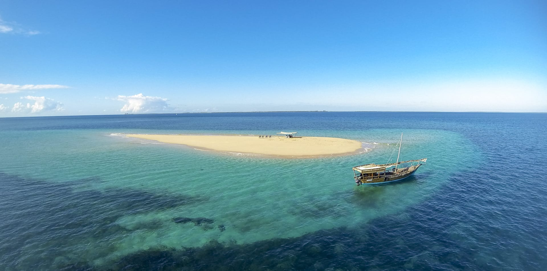 Aerial view boat remote islands, Mozambique