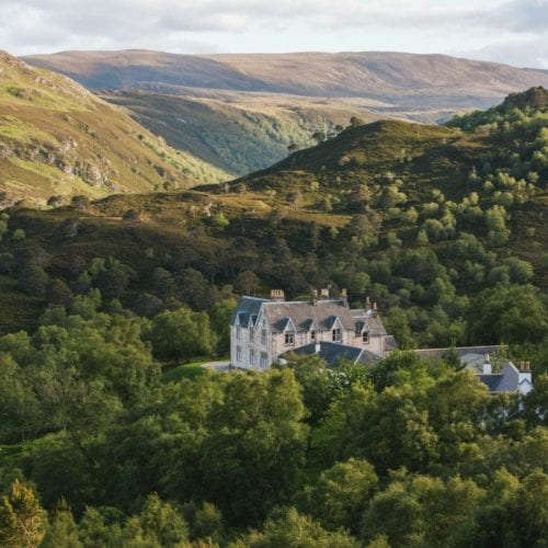 Aerial shot of Alldale Lodge in Scotland's wilderness