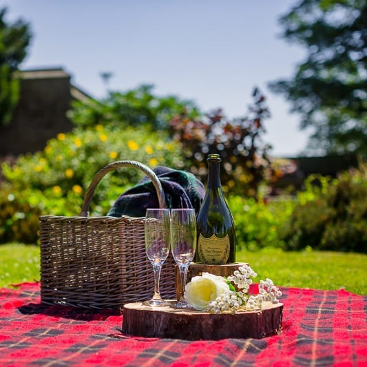 Champagne picnic at Simonstone Hall, North Yorkshire