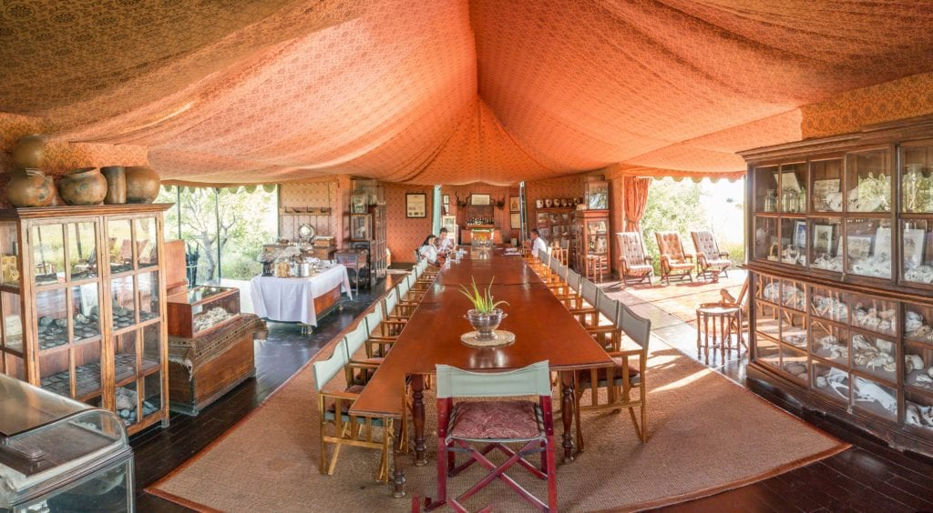 Dining Room at Jacks Camp with Piano Botswana