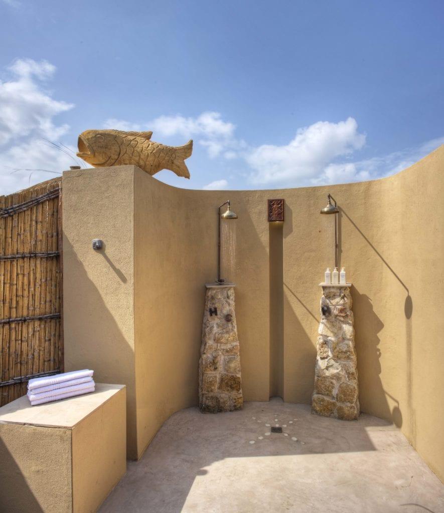 Outdoor Showers at Royal Beach Villa at Azura Benguerra Mozambique