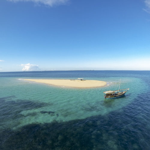 Aerial View of Boat on the Ocean in Mozambique