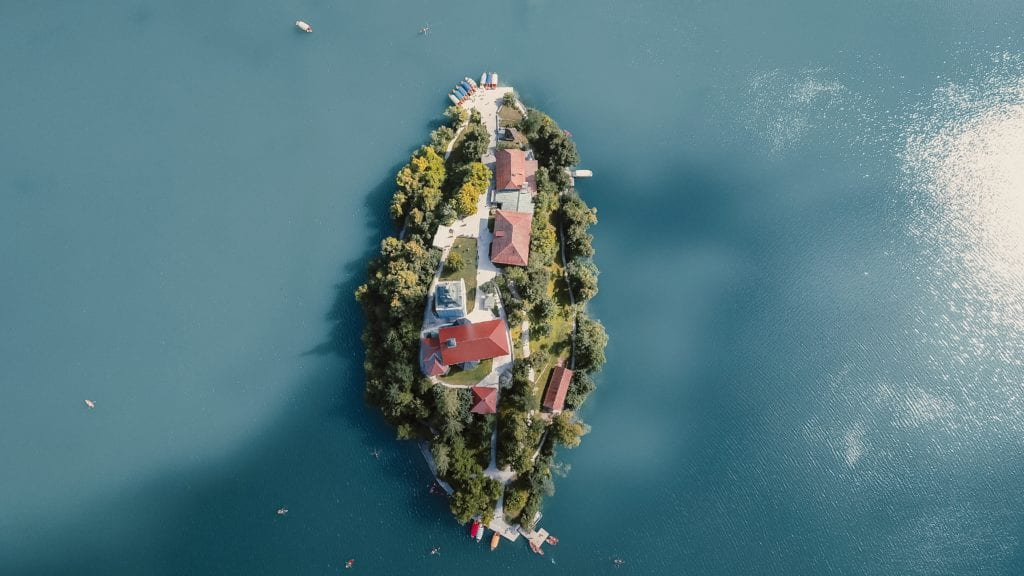 Aerial View of Bled Island Slovenia