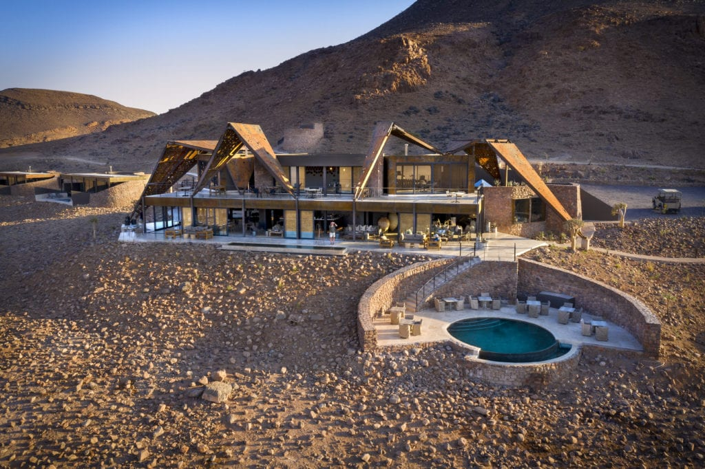 Aerial view of guest area at Sossusvlei Namib Desert Namibia