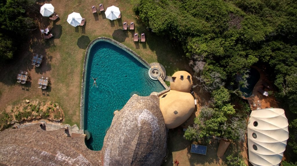 Aerial View of Pool and Lodge at Wild Coast Tented Lodge Sri Lanka