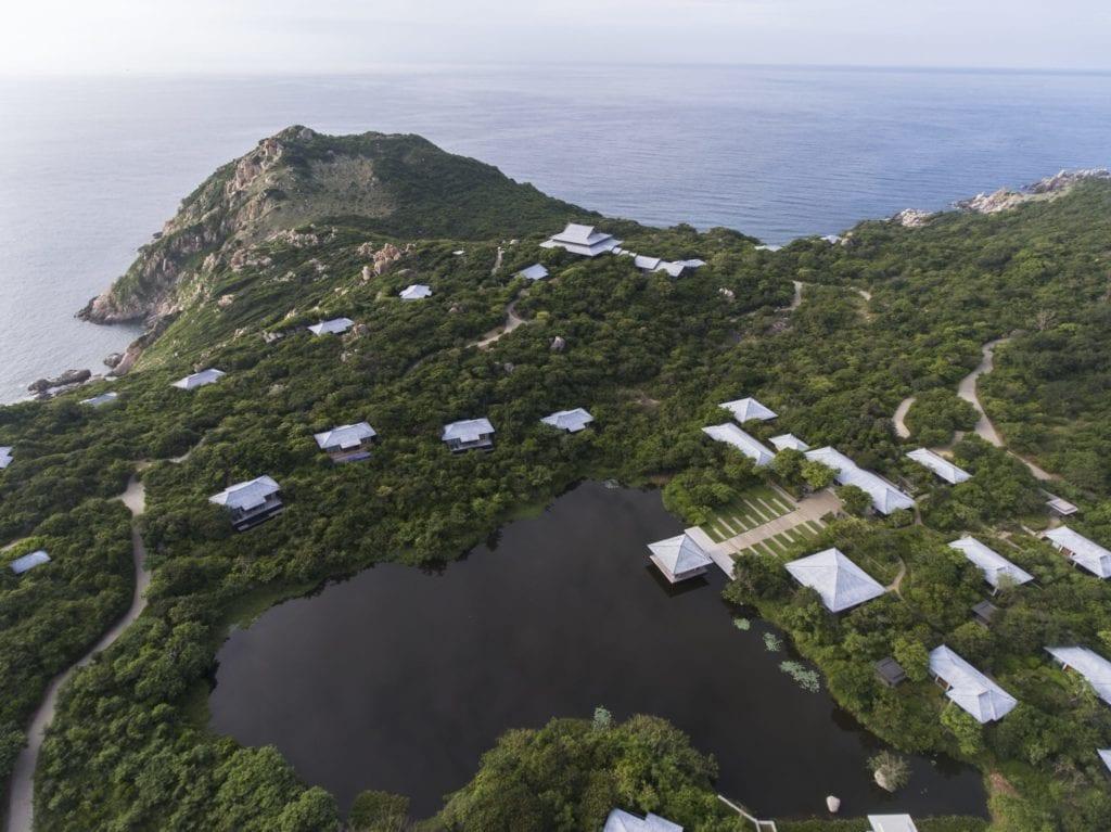 Aerial View of Amanoi Vietnam The Spa Lotus Lake and Ocean