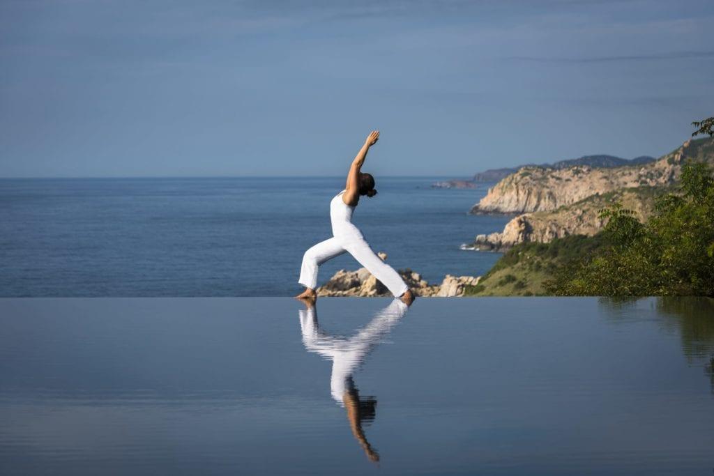Yoga at Cliff Pool at Amanoi Vietnam