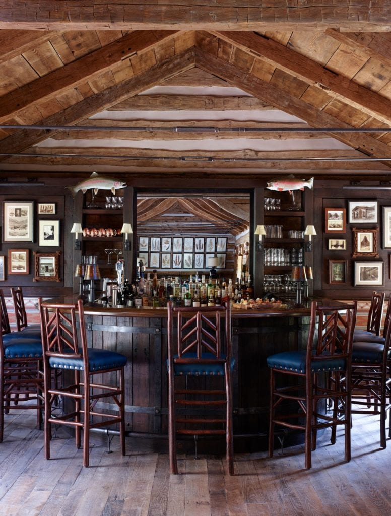 Interior of Bar Lounge Area at Taylor River Lodge Colorado USA