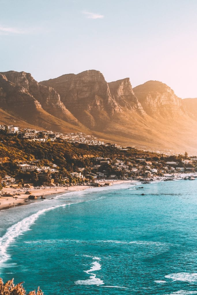 Beach, ocean, and mountains in Cape Town