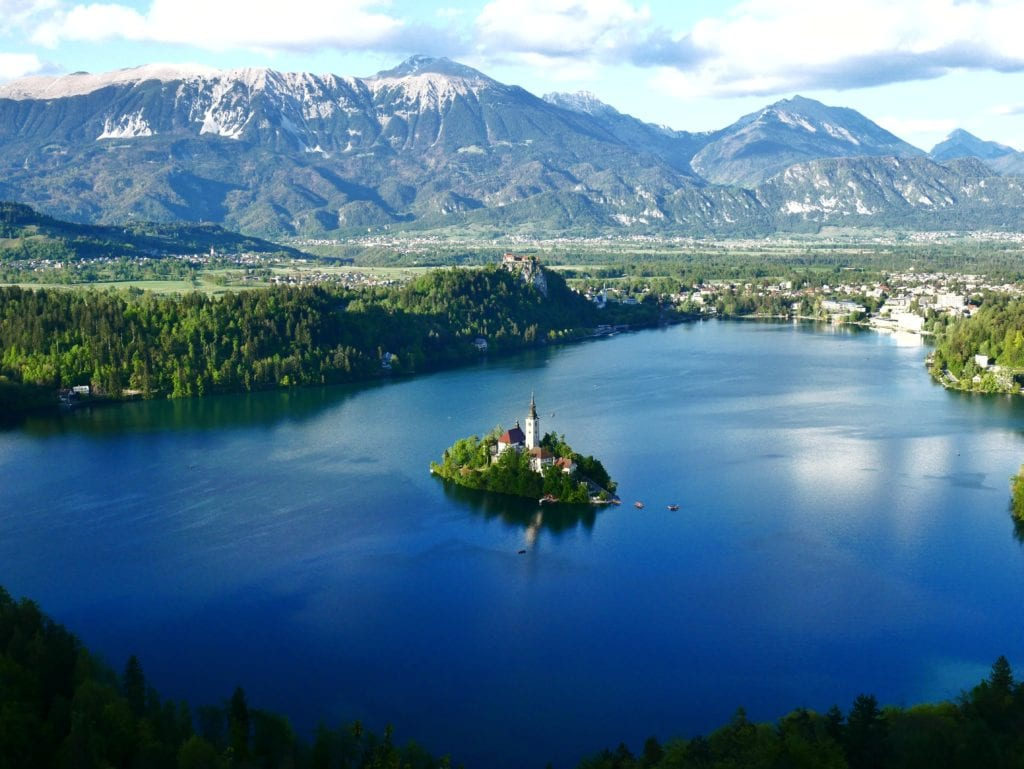 Bled Island Church Slovenia Mountain Landscape
