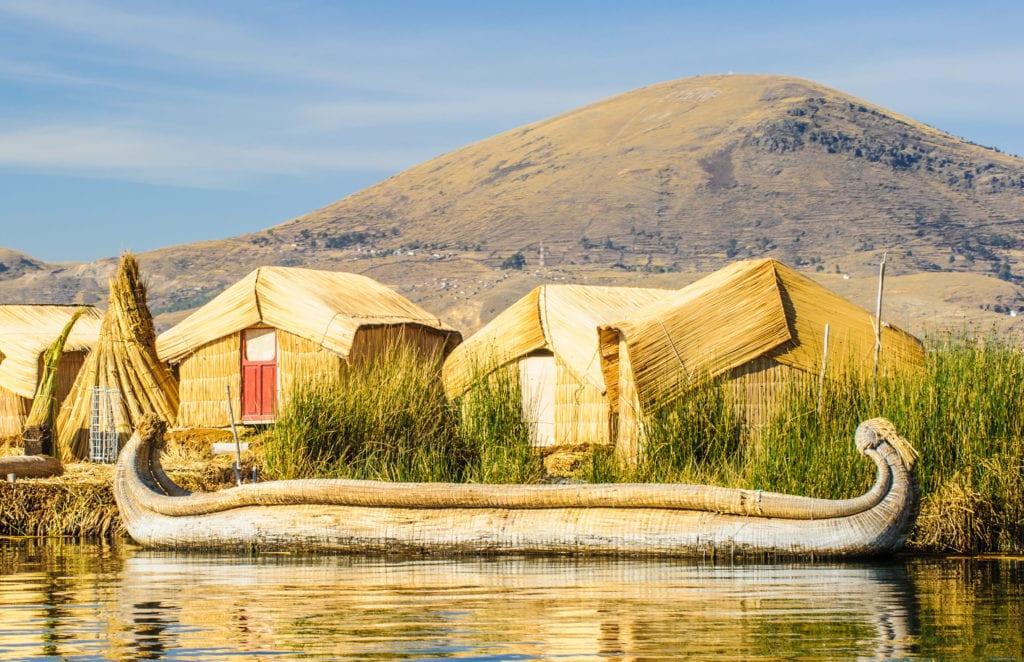 Boat Uros Floating Island on Lake Titicaca in Peru