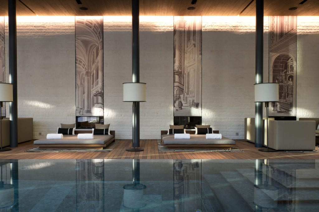 Indoor Pool Lounge at The Chedi in Switzerland Swiss Alps