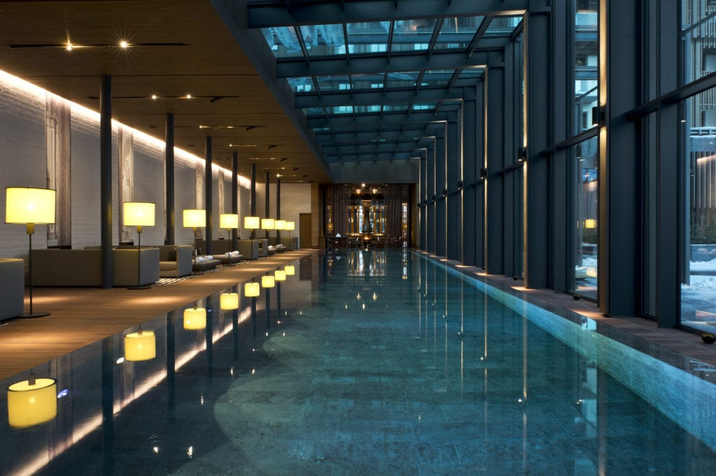 Indoor Pool The Chedi at Night Switzerland