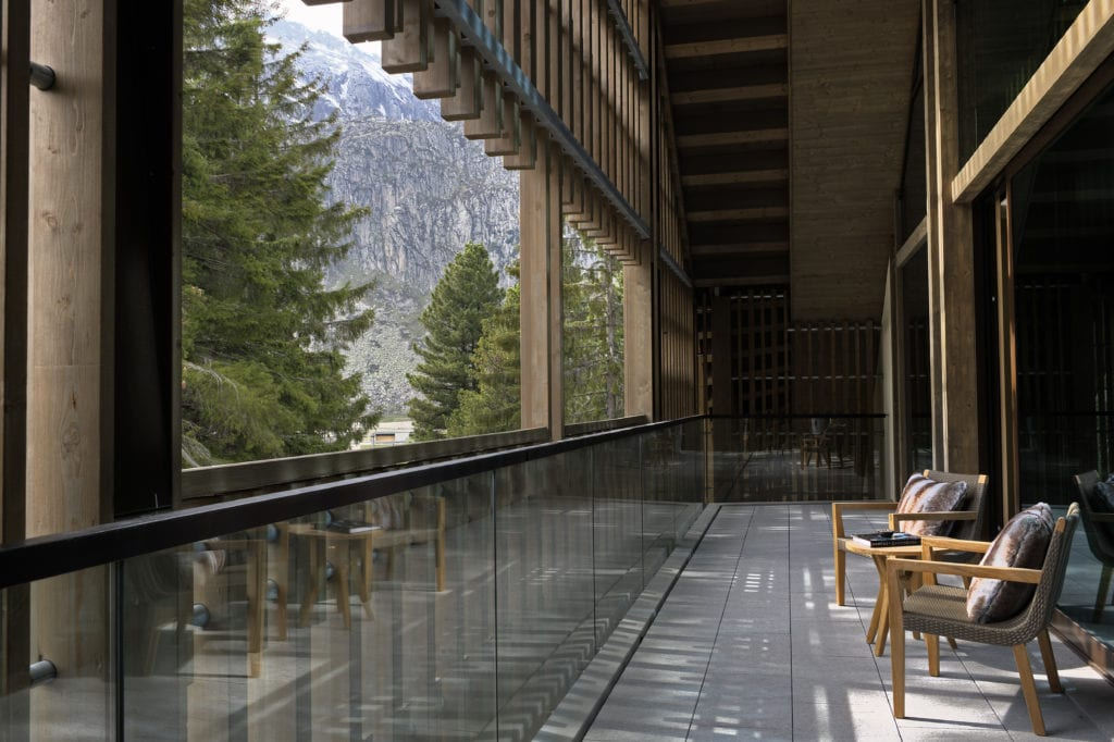 Furka Suite Terrace View of Swiss Alps at The Chedi