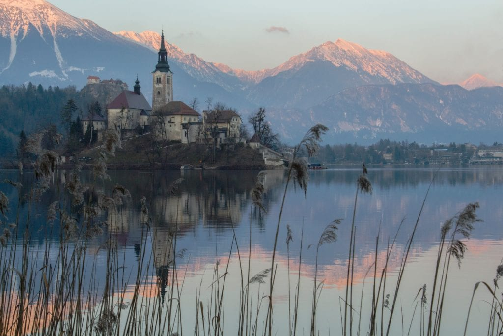 Church Mountains and Lake in Slovenia