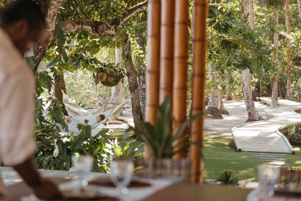 Outdoor Dining Area at Isla Secas Panama