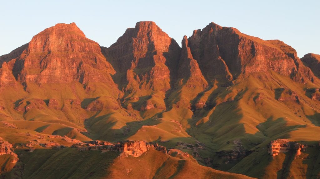 Sunset on Drakensburg Mountains South Africa